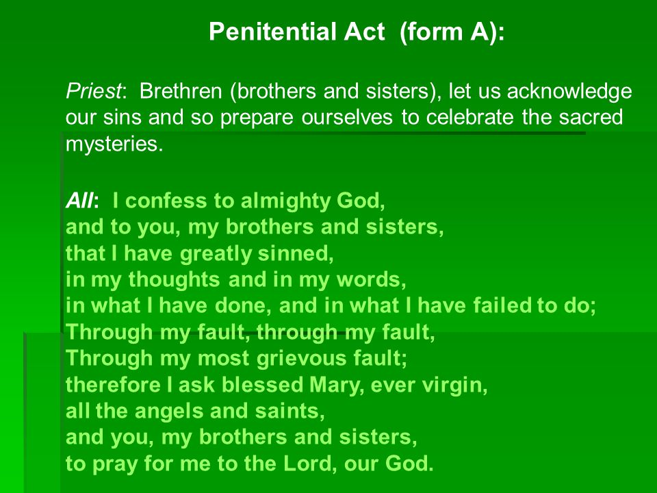 Penitential Act (form A):