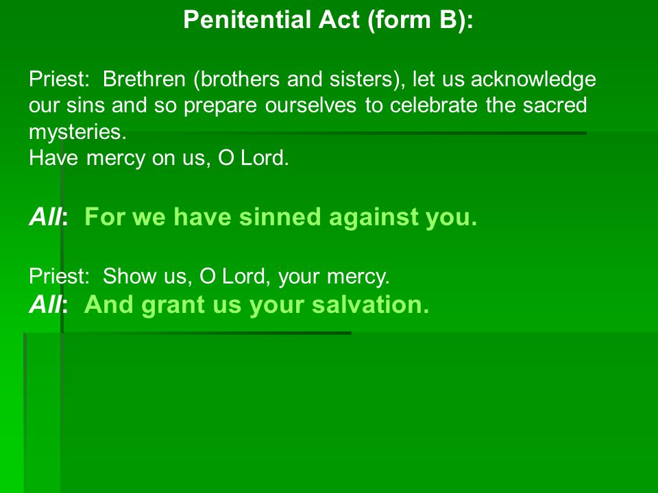 Penitential Act (form B):