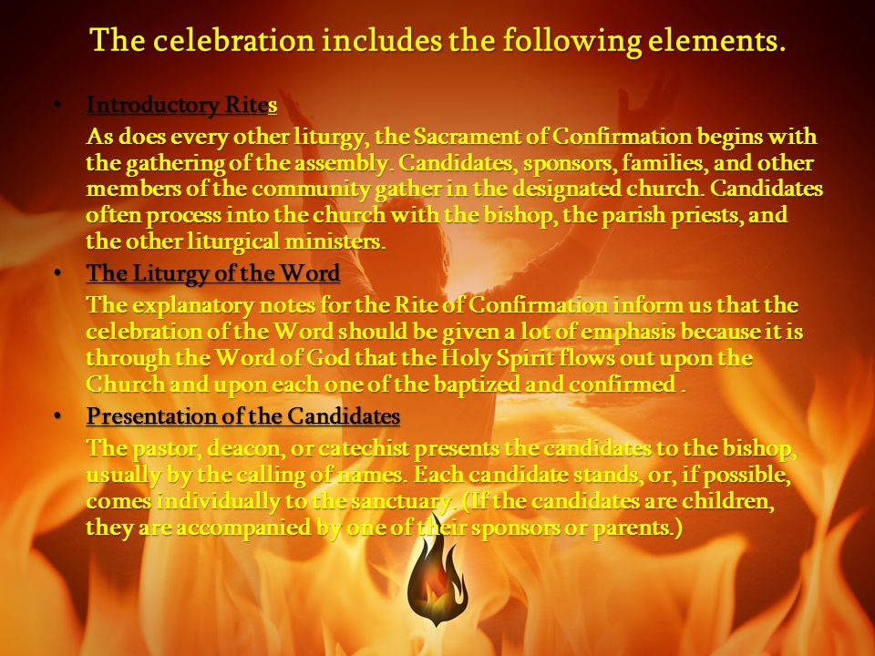 The celebration includes the following elements.