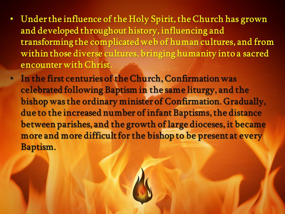 Under the influence of the Holy Spirit, the Church has grown and developed throughout history, influencing and transforming the complicated web of human cultures, and from within those diverse cultures, bringing humanity into a sacred encounter with Christ.