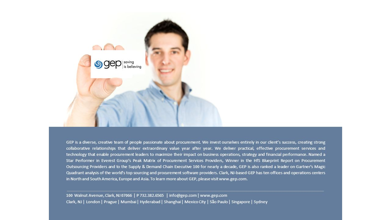 GEP is a diverse, creative team of people passionate about procurement