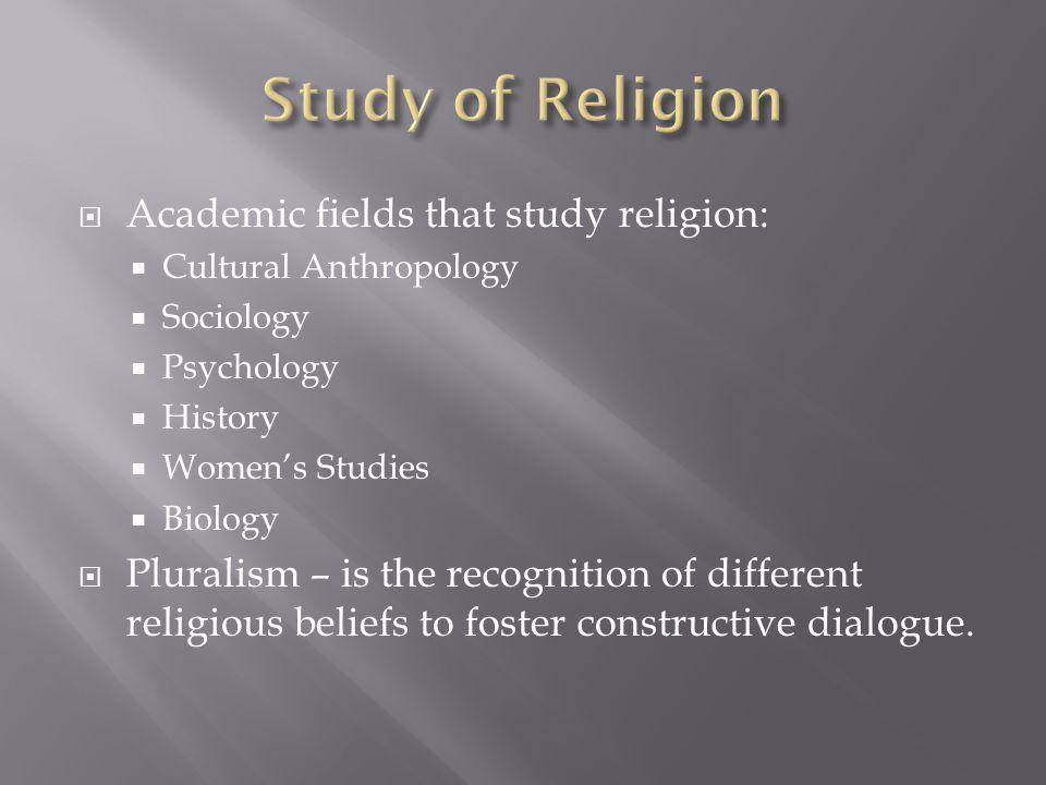 Study of Religion Academic fields that study religion: