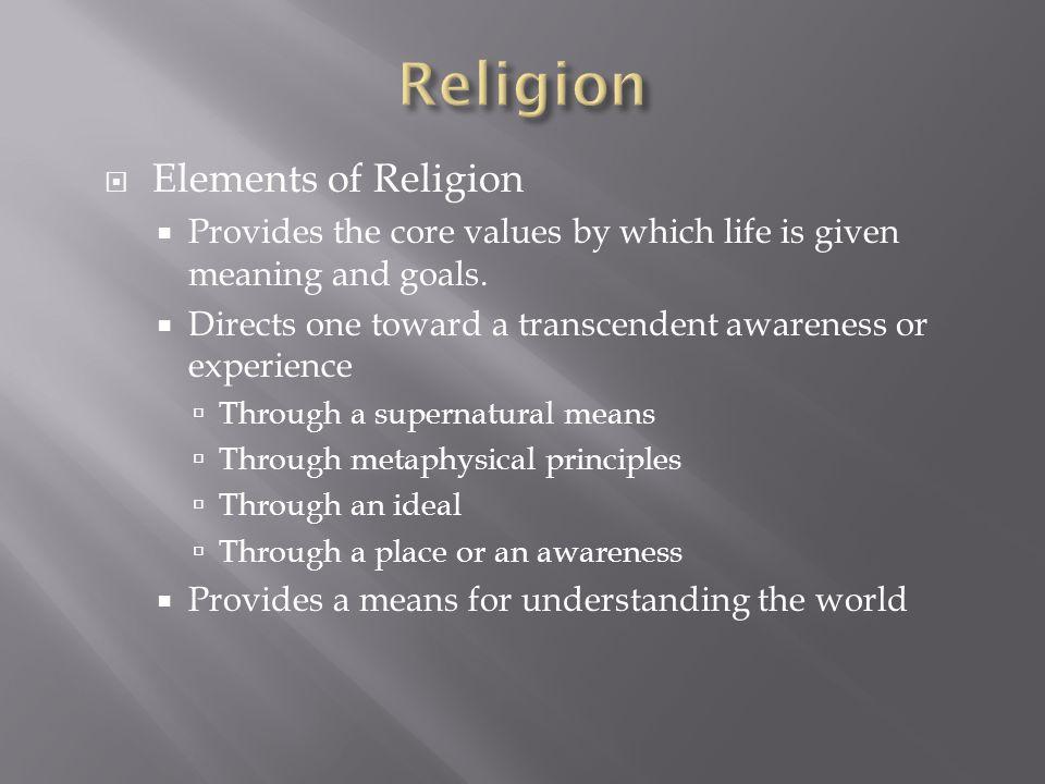 Religion Elements of Religion