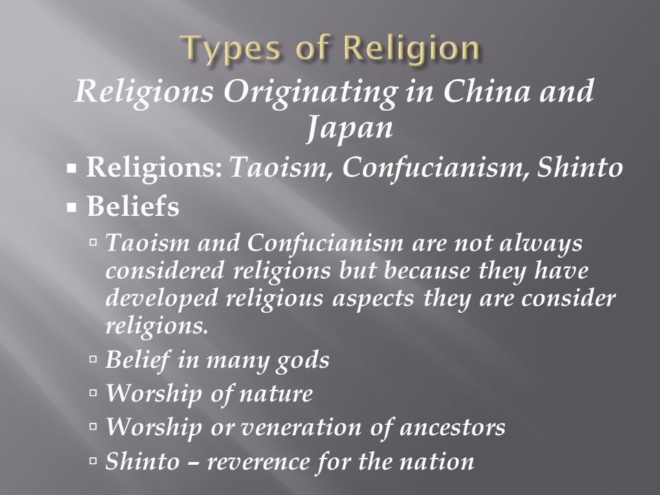 Religions Originating in China and Japan