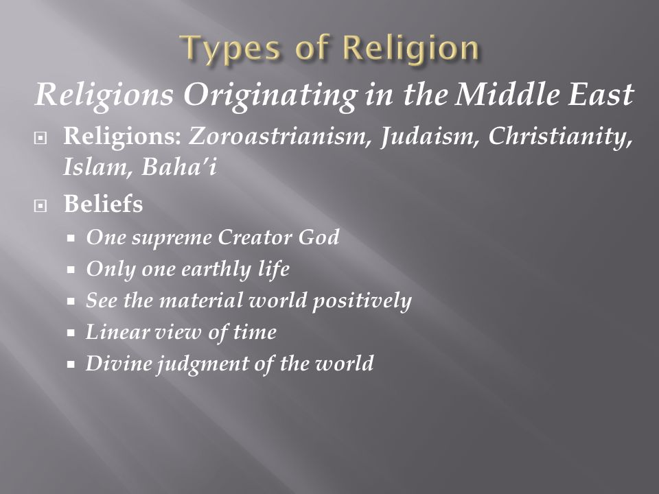 Religions Originating in the Middle East