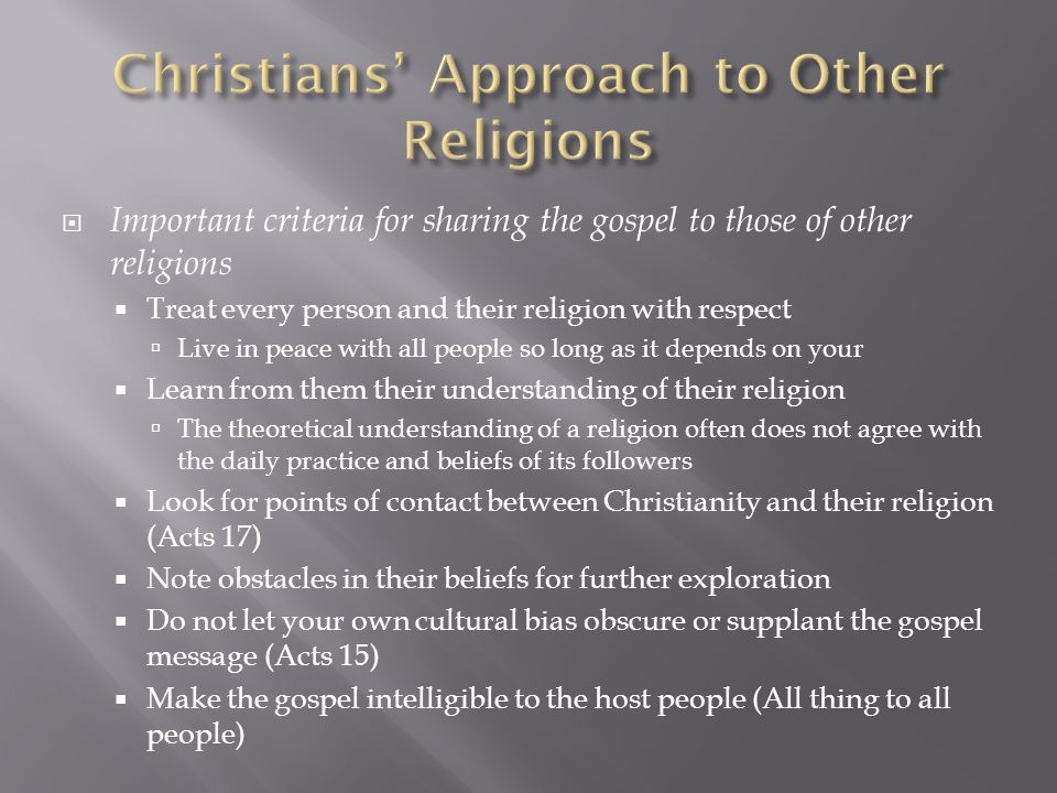 Christians' Approach to Other Religions