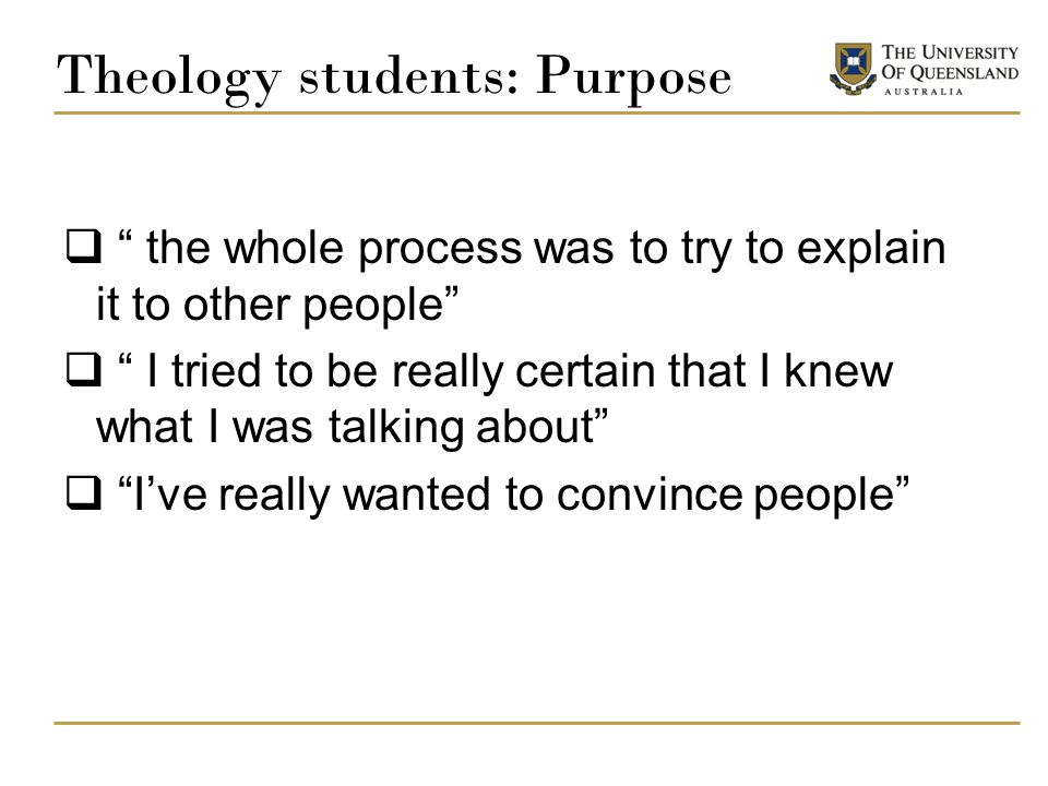 Theology students: Purpose
