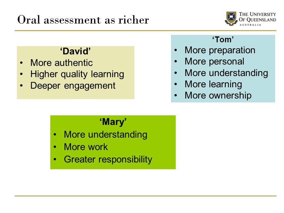 Oral assessment as richer