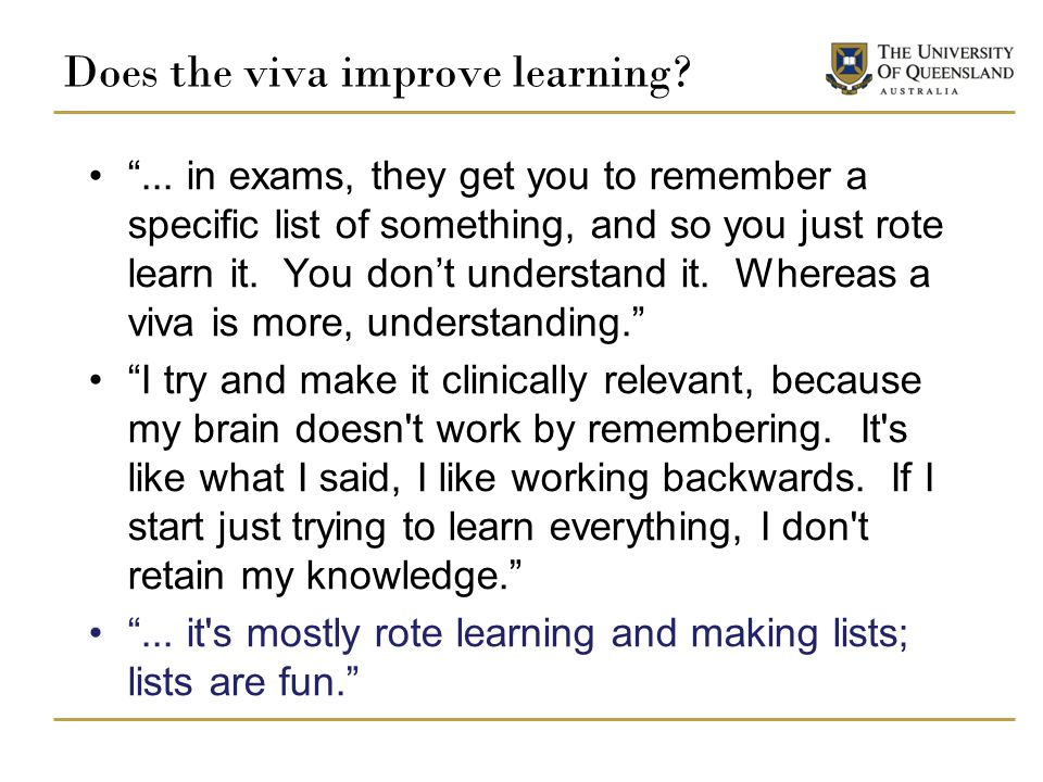 Does the viva improve learning