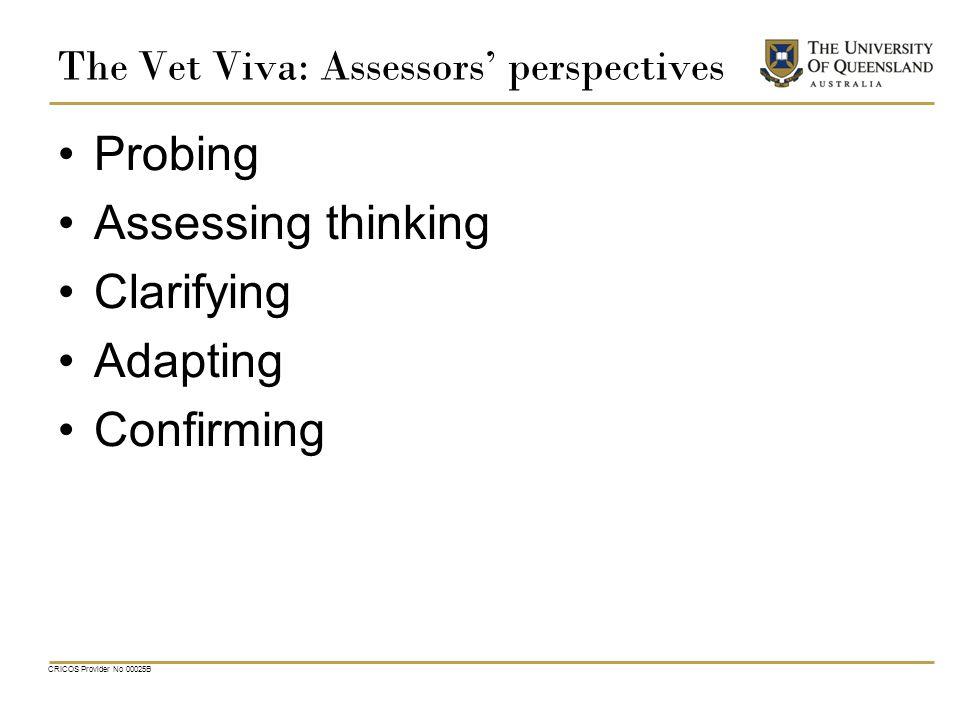 The Vet Viva: Assessors' perspectives