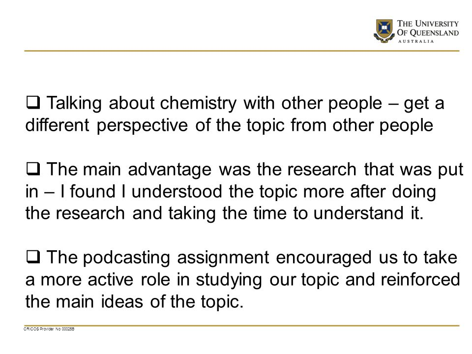 Talking about chemistry with other people – get a different perspective of the topic from other people