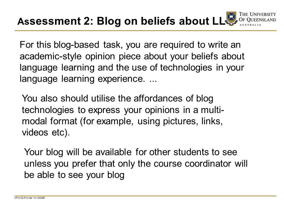 Assessment 2: Blog on beliefs about LL