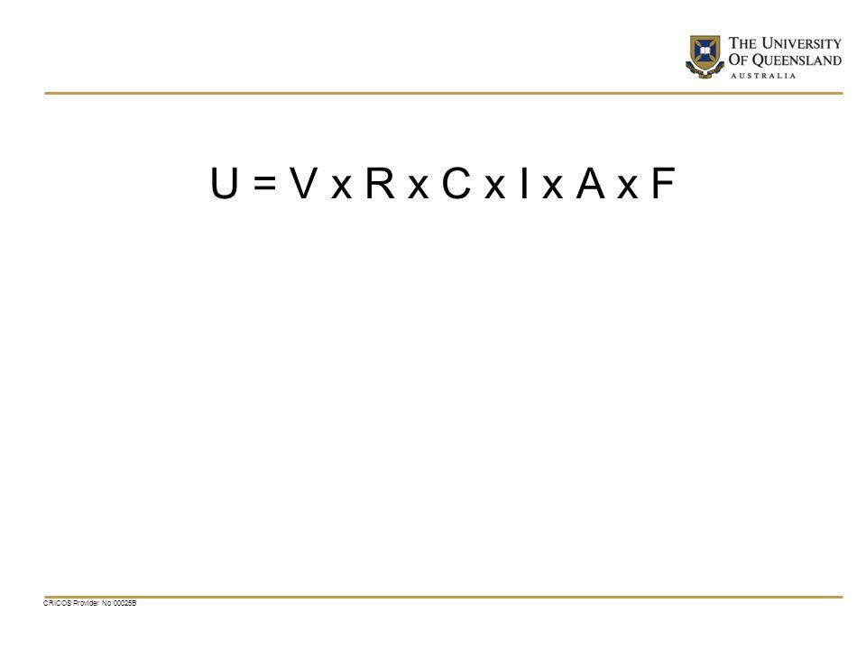 U = V x R x C x I x A x F CRICOS Provider No 00025B