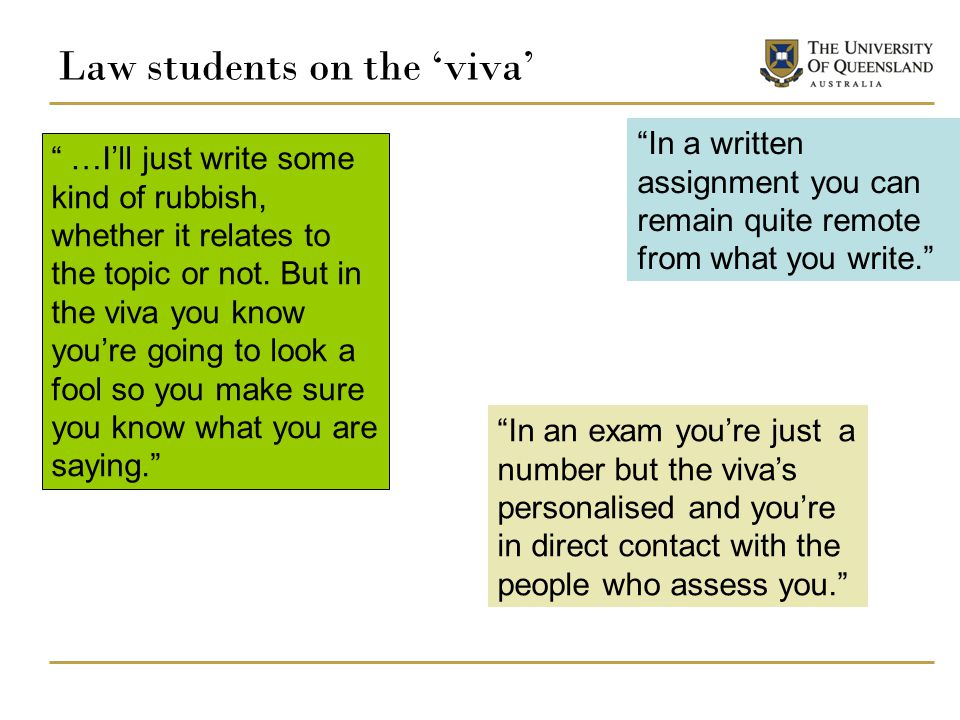 Law students on the 'viva'