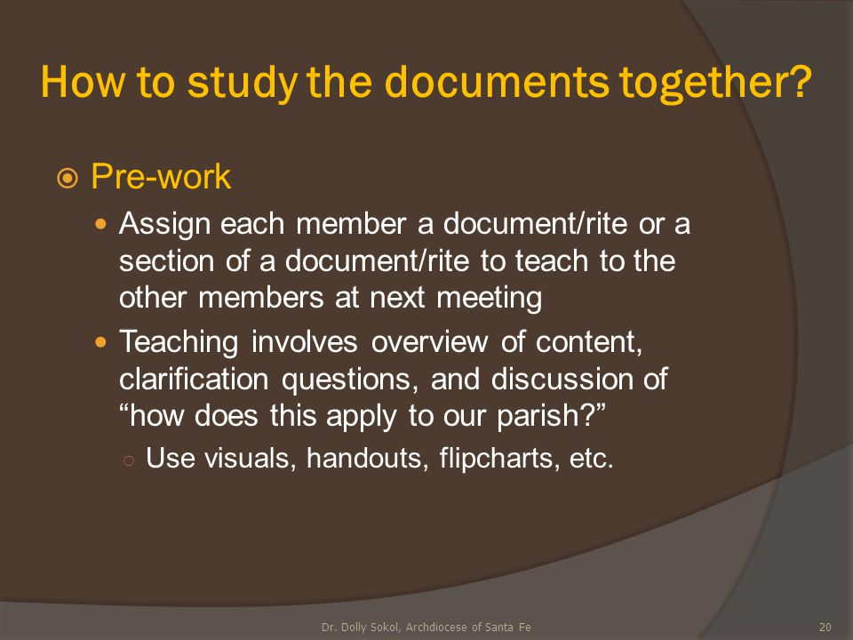 How to study the documents together