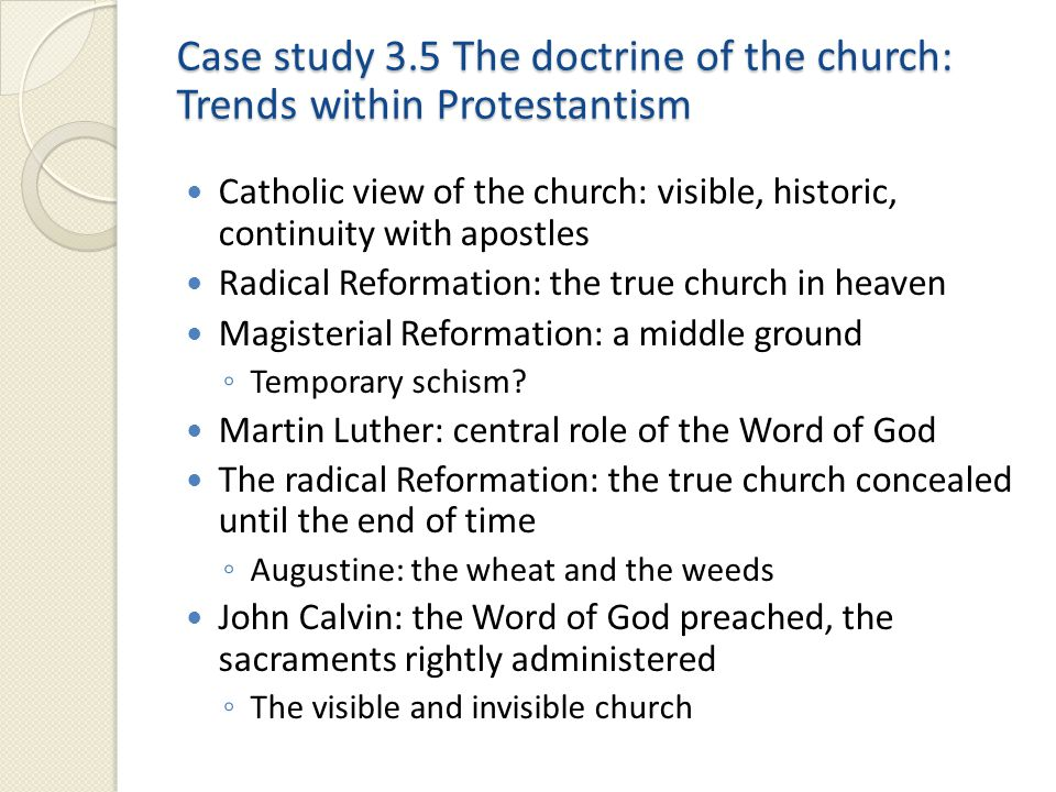 Case study 3.5 The doctrine of the church: Trends within Protestantism