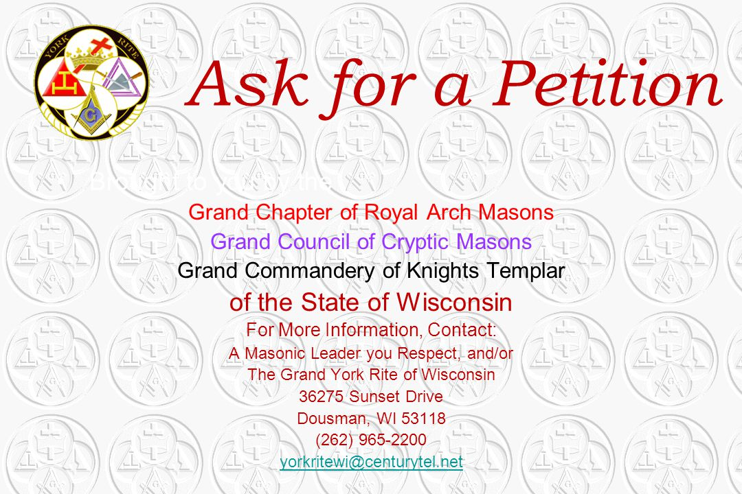 Ask for a Petition Brought to you by the of the State of Wisconsin