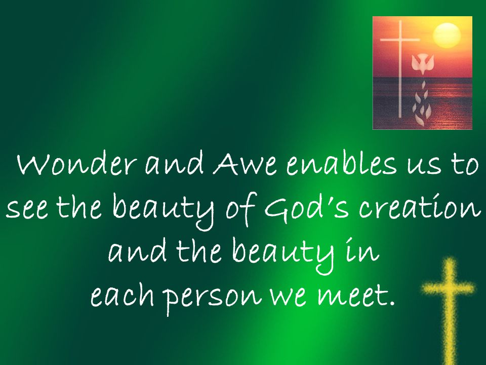 Wonder and Awe enables us to see the beauty of God's creation and the beauty in each person we meet.