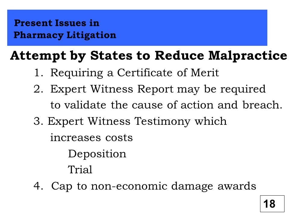 Attempt by States to Reduce Malpractice