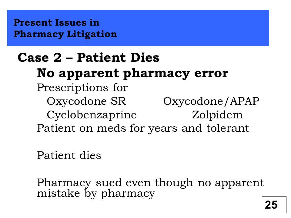 No apparent pharmacy error