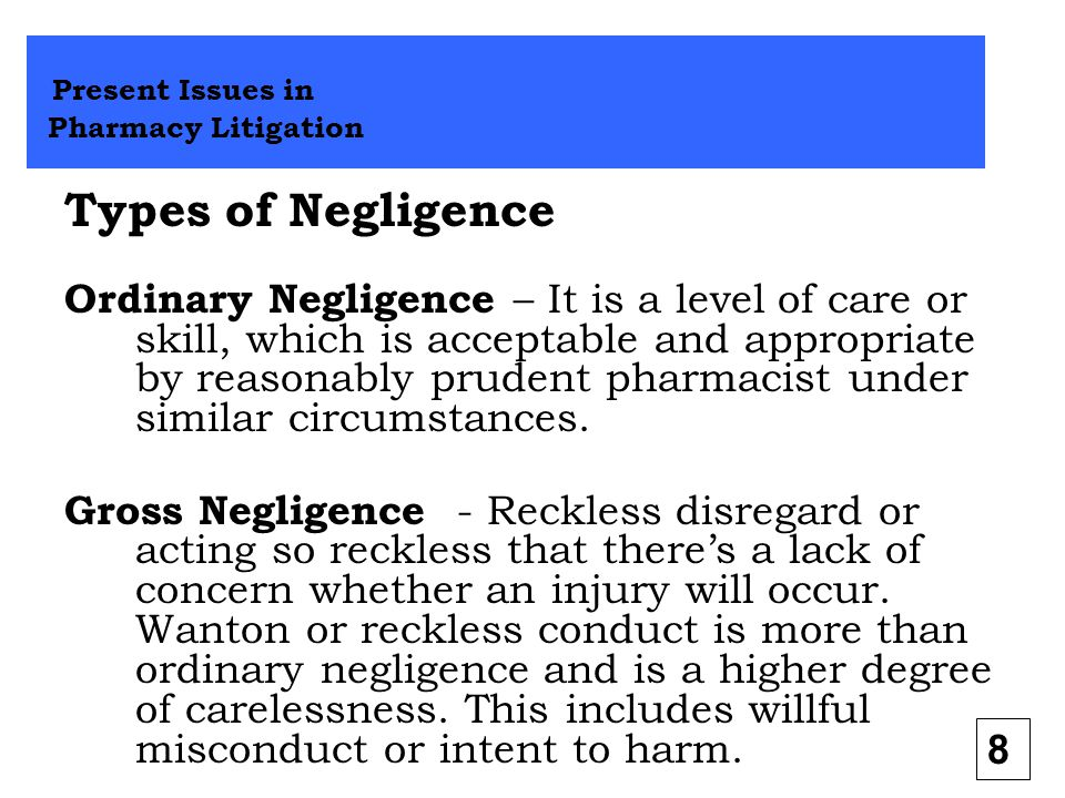 Types of Negligence Present Issues in Pharmacy Litigation