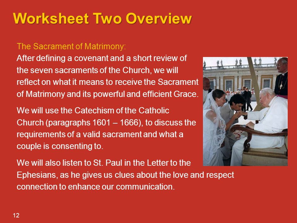 MARRIAGE PREPARATION That is why a man leaves ppt video online – Seven Sacraments Worksheet