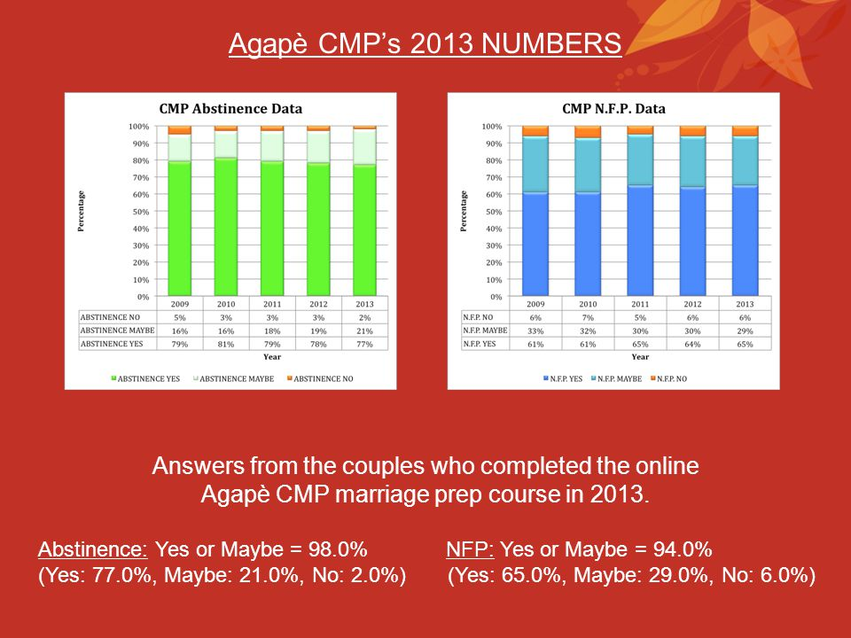 Agapè CMP's 2013 NUMBERS Answers from the couples who completed the online. Agapè CMP marriage prep course in 2013.