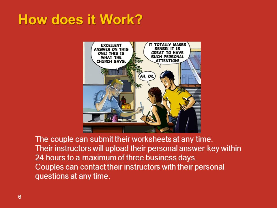 How does it Work The couple can submit their worksheets at any time.