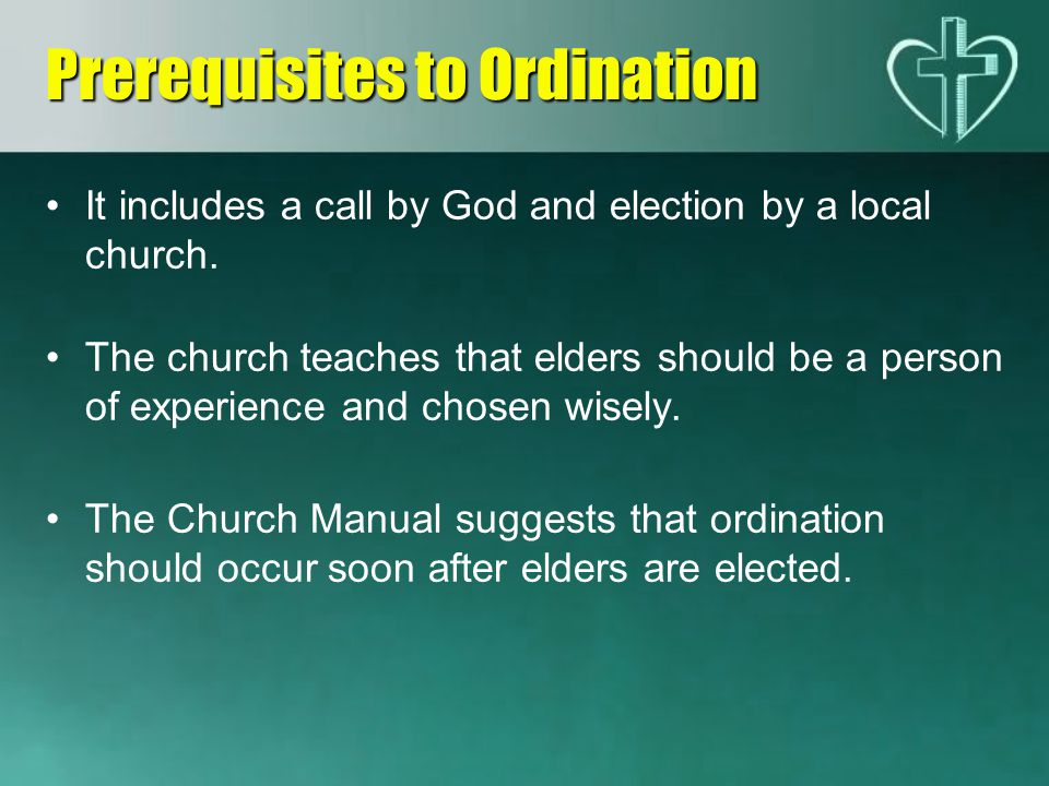 Prerequisites to Ordination