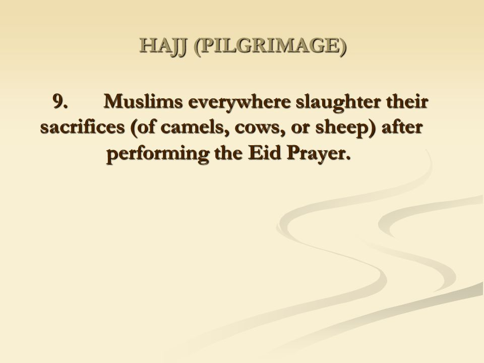 HAJJ (PILGRIMAGE) 9. Muslims everywhere slaughter their sacrifices (of camels, cows, or sheep) after performing the Eid Prayer.