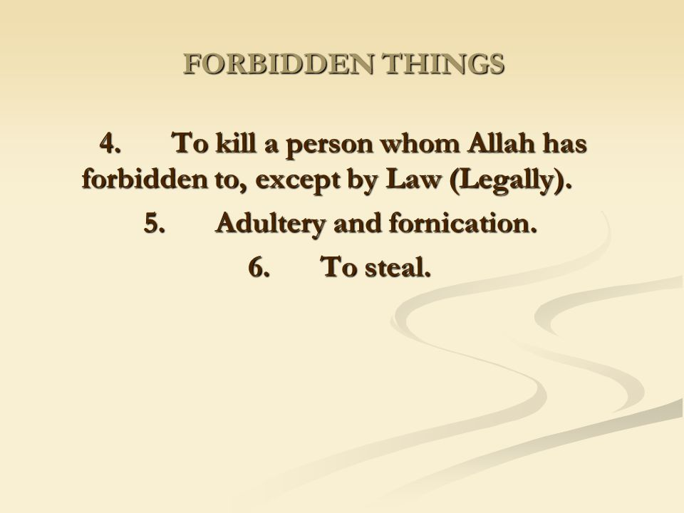 5. Adultery and fornication.