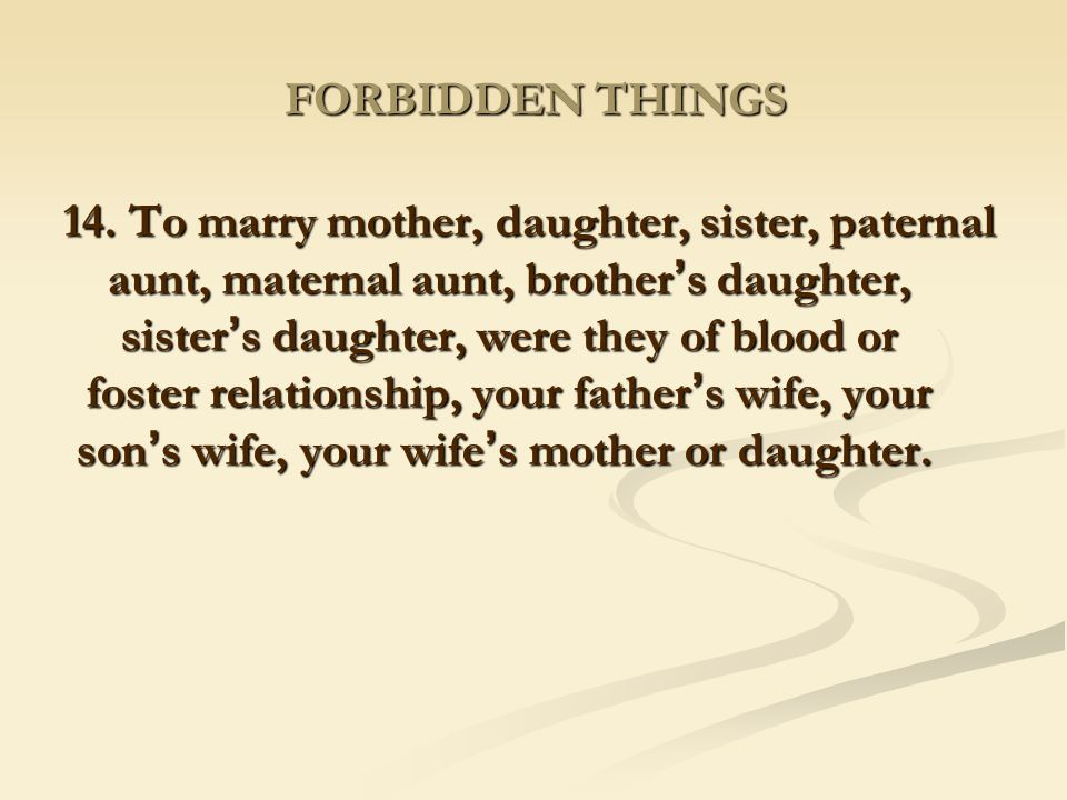 FORBIDDEN THINGS