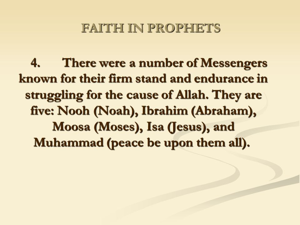 FAITH IN PROPHETS
