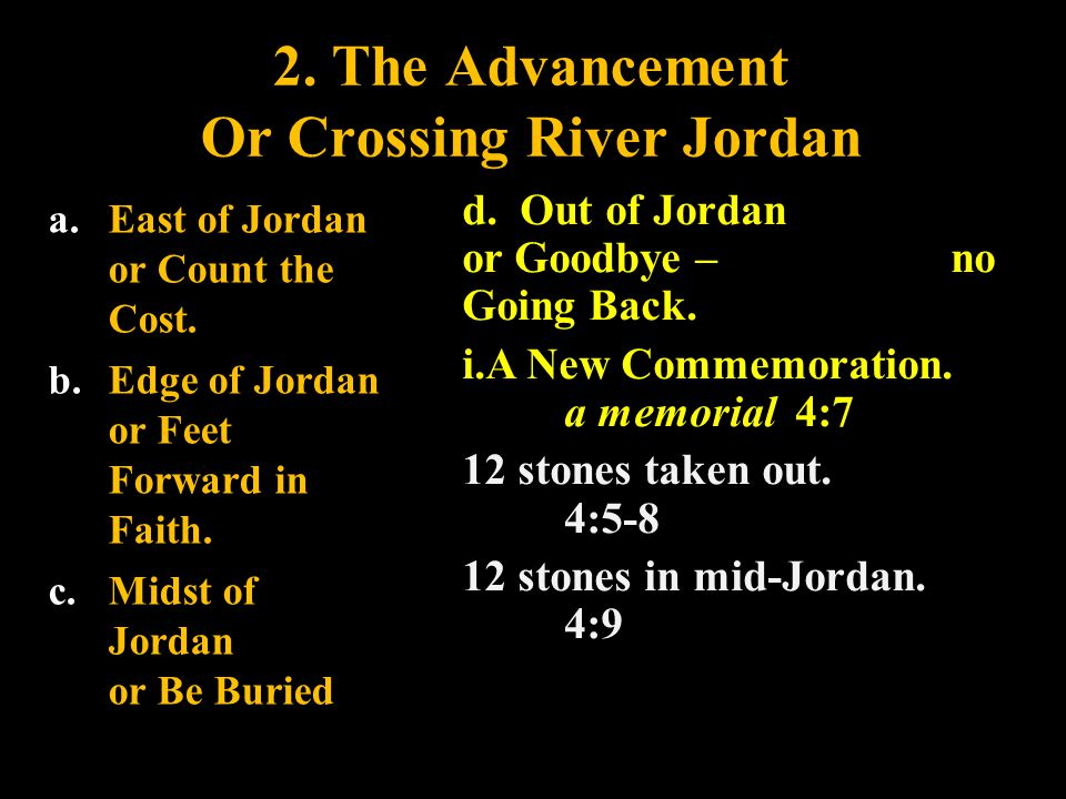 2. The Advancement Or Crossing River Jordan