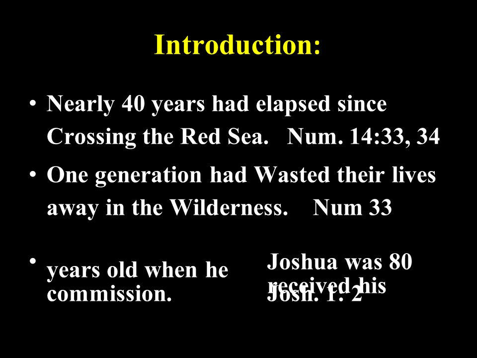 Introduction: Nearly 40 years had elapsed since Crossing the Red Sea. Num. 14:33, 34.