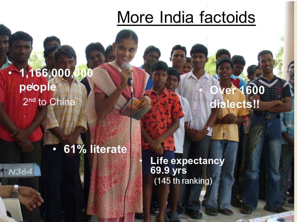 More India factoids 1,166,000,000 people Over 1600 dialects!!