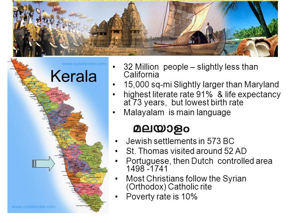 Kerala 32 Million people – slightly less than California