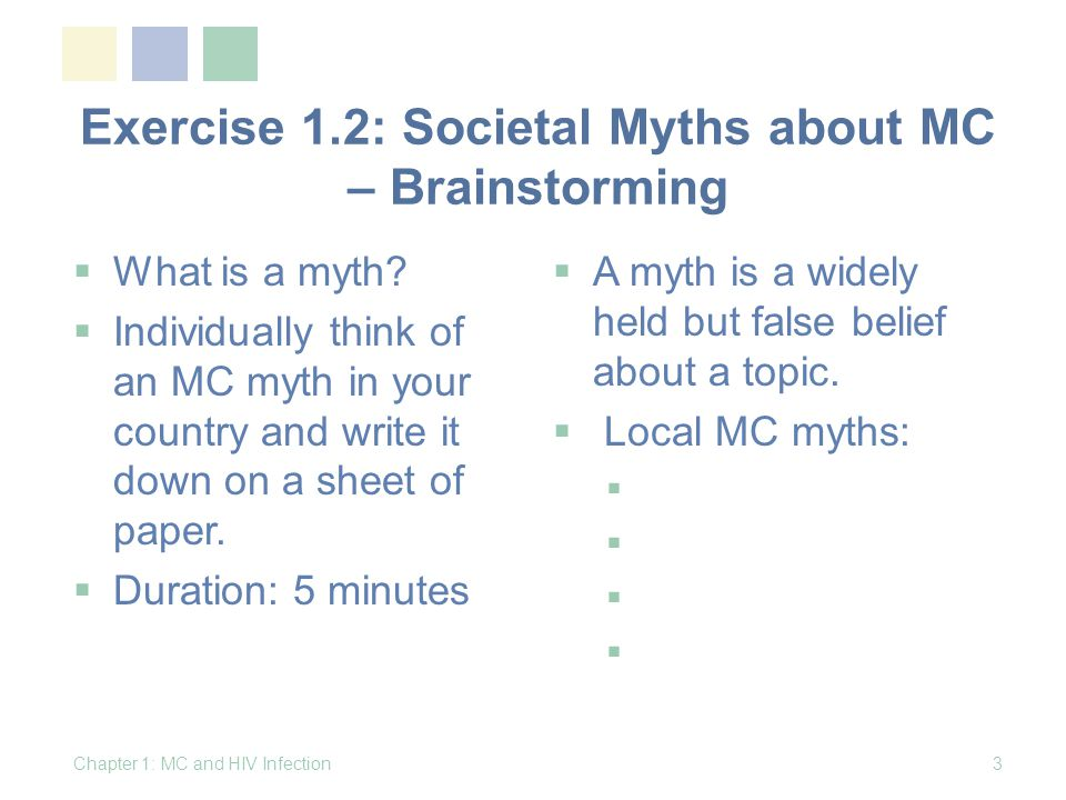 Exercise 1.2: Societal Myths about MC – Brainstorming