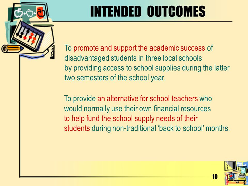 INTENDED OUTCOMES To promote and support the academic success of