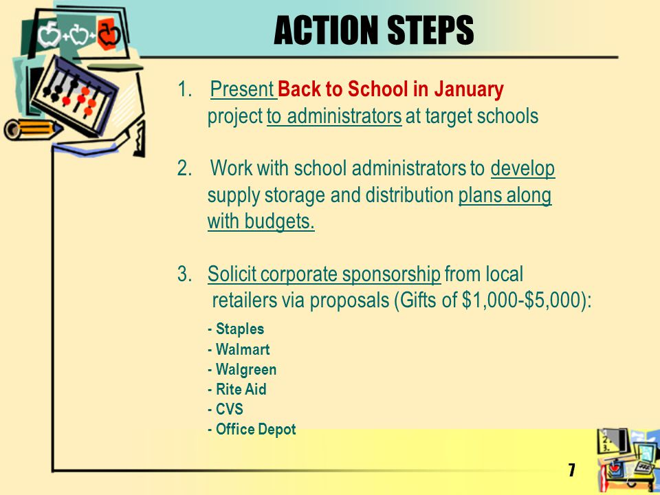 ACTION STEPS Present Back to School in January