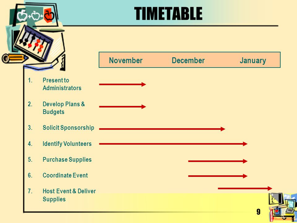 TIMETABLE November December January 9 Present to Administrators