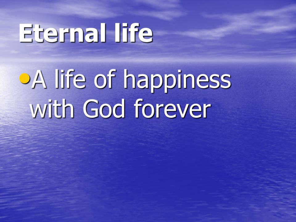Eternal life A life of happiness with God forever