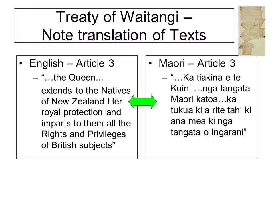 Treaty of Waitangi – Note translation of Texts
