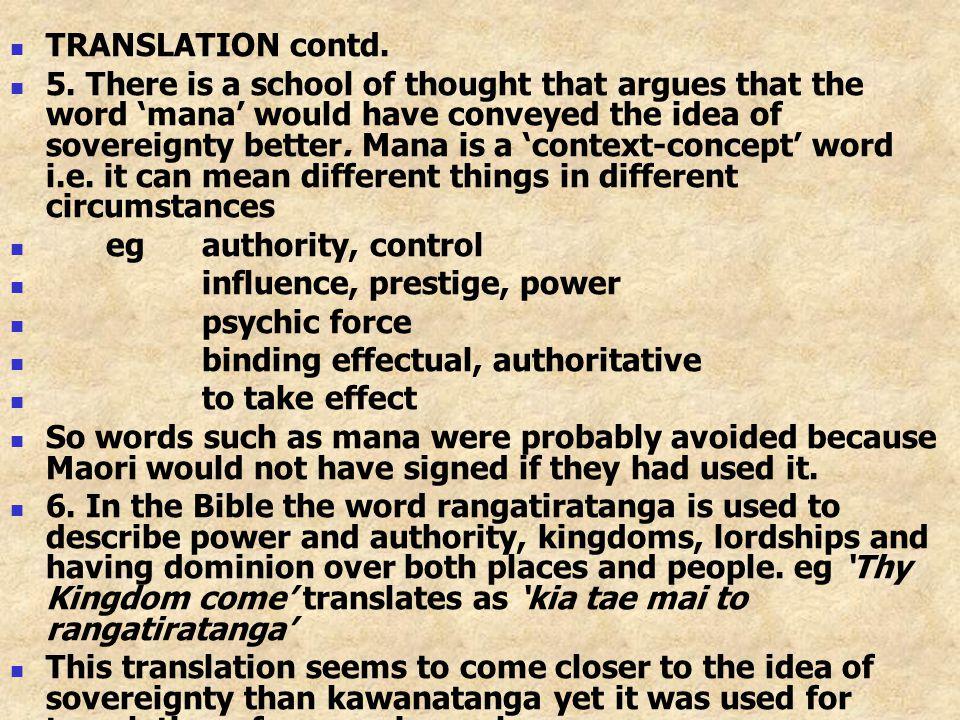 TRANSLATION contd.