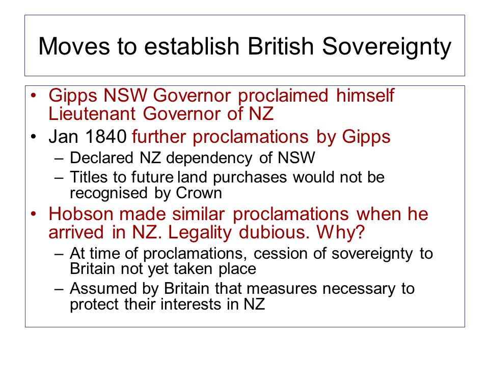 Moves to establish British Sovereignty