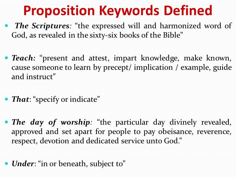 Proposition Keywords Defined