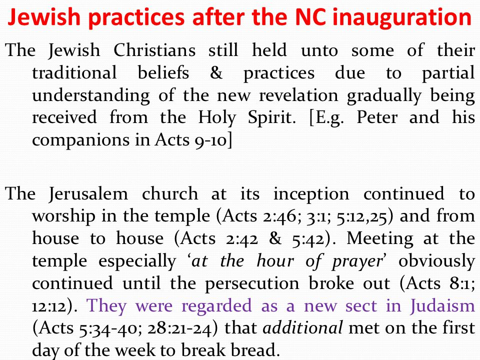 Jewish practices after the NC inauguration