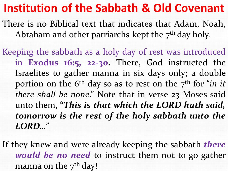 Institution of the Sabbath & Old Covenant
