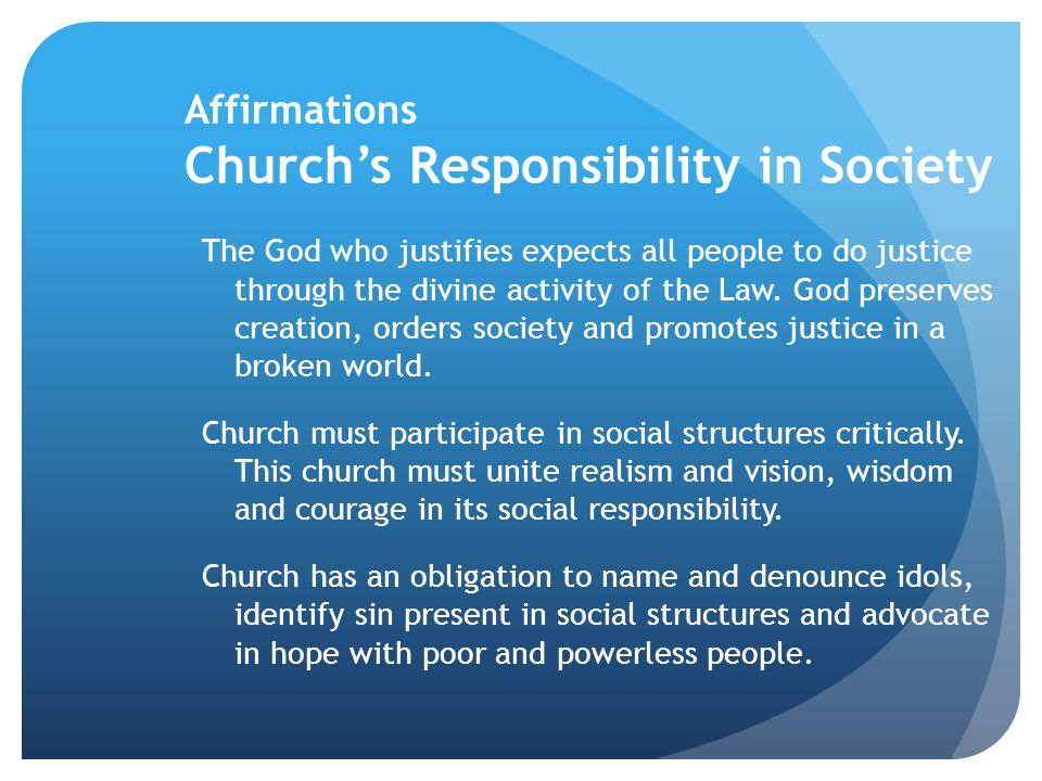 Affirmations Church's Responsibility in Society