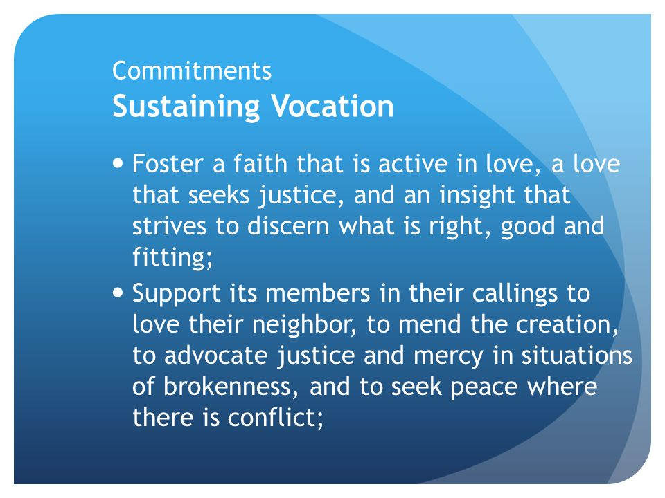 Commitments Sustaining Vocation